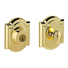 Decorative brass single deadbolt lock