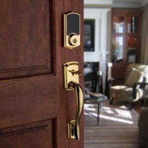 Residential front door with decorative electronic door lock