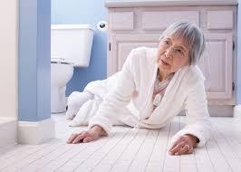 elderly woman falls in bathroom
