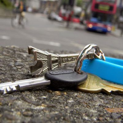 Lost car keys lying in the road
