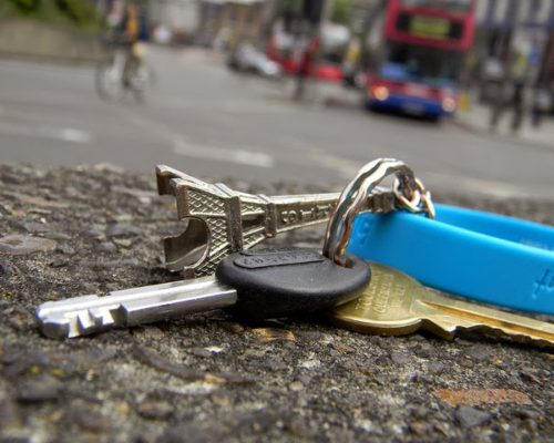 Lost car keys lying in the road